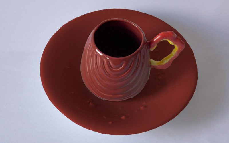 Tombouctou, tasse et soucoupe de la série exodus, fabriqué en France par l'artiste Bas van Zuijlen