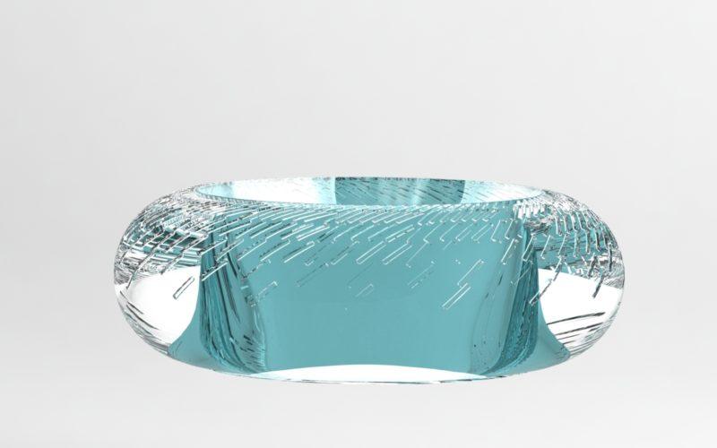 plat en cristal épais bleu ciselé, design (c) Bas van Zuijlen
