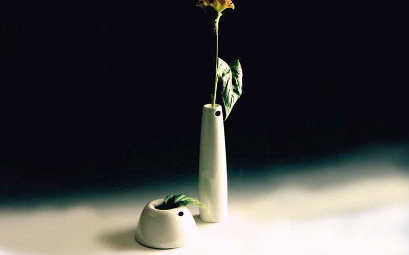 Niedrig est un vase en porcelaine blanche destiné à un bouquet rond ou pour des tulipes. Die Höhe est une soliflore.